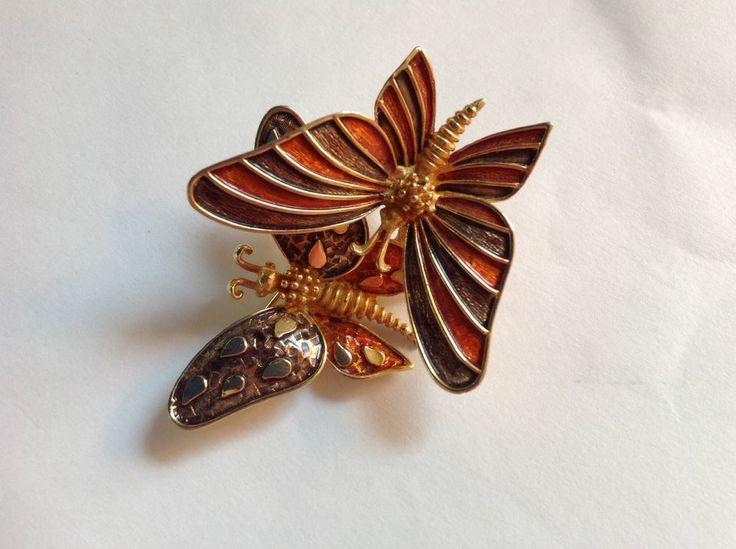 Vintage Signed Boucher Double Butterfly Trembler Pin  #Boucher