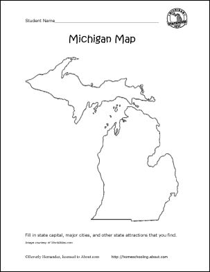 Michigan Printables: Michigan State Map