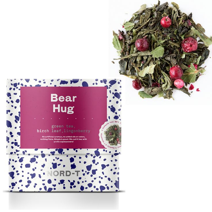 BEAR HUG  Bears are well known for their love of forest goodies. In the autumn, our friendly Scandinavian bears' only priority is to stuff their bellies full of berries. These marvellous mini foods have superpowers that sustain the bears through the long and cold Nordic winter. This tea will give you superpowers too - an invincible energy, as if you have been given a power hug by a big soft bear and then sent off to conquer the elements. Or whatever there is that you conquer. GREEN TEA BLEND
