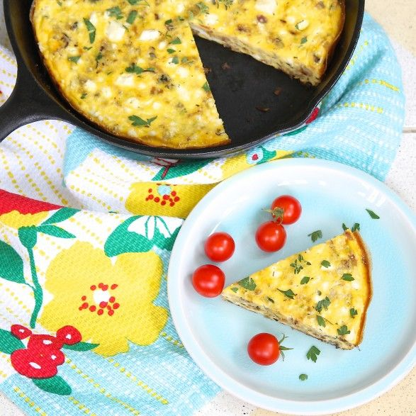 Zucchini, Potato and Feta Frittata--a meatless meal that is light yet ...