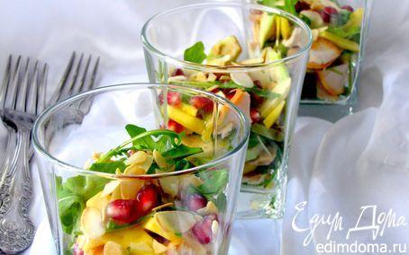 Салат из копченой курицы, манго и авокадо | Кулинарные рецепты от «Едим дома!»