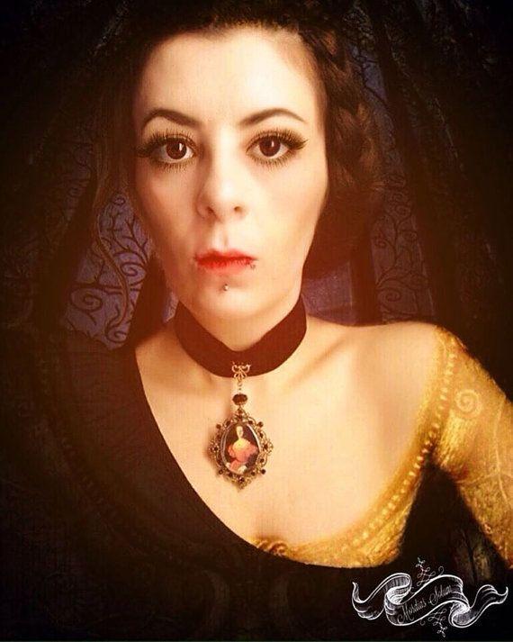 Elizabeth Bathory Gothic Pendant Black Velvet by MordiasSolum