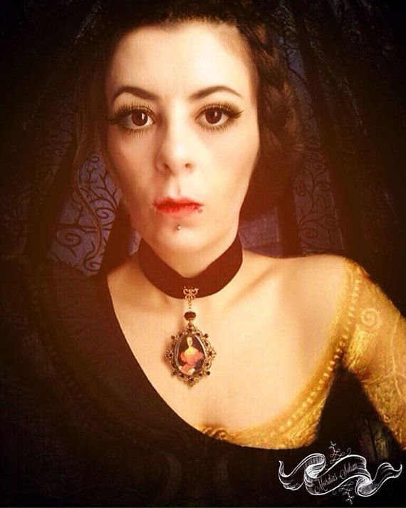 Elizabeth Bathory Gothic Pendant Black Velvet by MordiasSolum