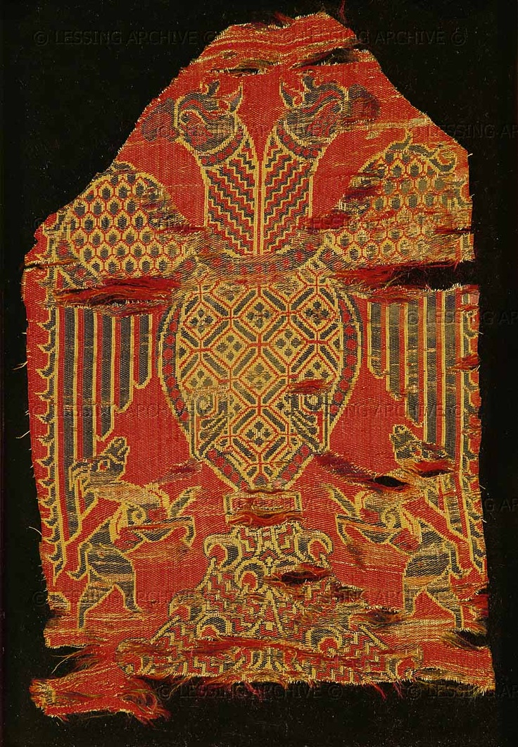 13th century Spanish.  Double-headed eagle. Spanish silk   Musee Historique des Tissus, Lyon, France