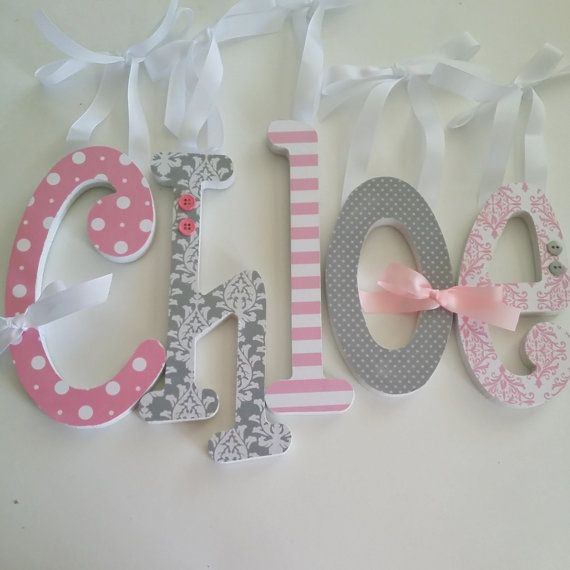 add a pop of color with pink and grey wooden nursery letters this listing is