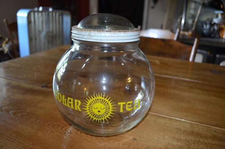 Solar Sun Tea Jar Yellow Bubble Lid Vintage 1970's Round-retro kitchen decor