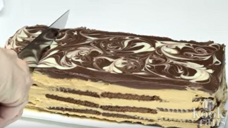Ben jij fan van koekjes én taart? Dan MOET je deze koekjestaart proberen! Echt heel lekker!