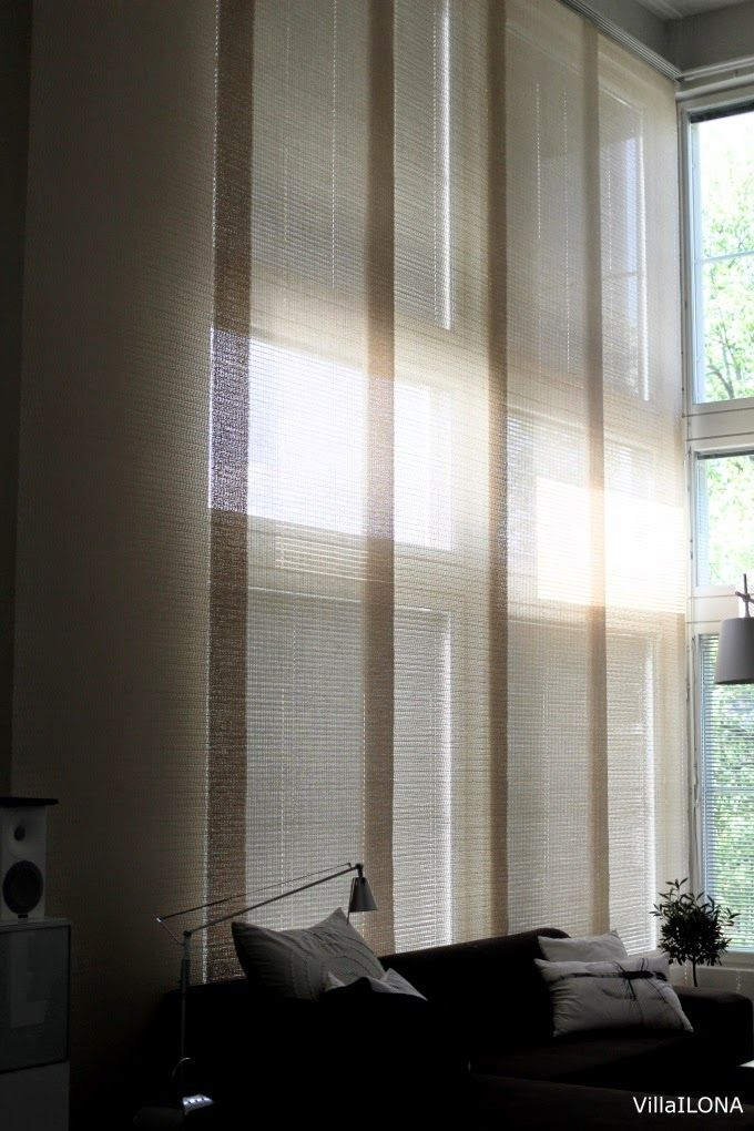 Woodnotes Panels are suited especially well for high spaces. Panel fabrics allow a delicate and soft light to pass through. Interior design. Home décor. Curtains and blinds. Light.