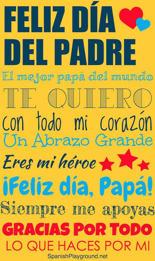 Día del Padre printable posters to help kids celebrate Dad in Spanish. Free fun, pretty posters - in color and in black and white for kids to color.