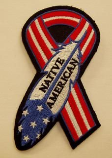 Native American Veterans | Native American Red/Wh/Blue Ribbon Feather Patch