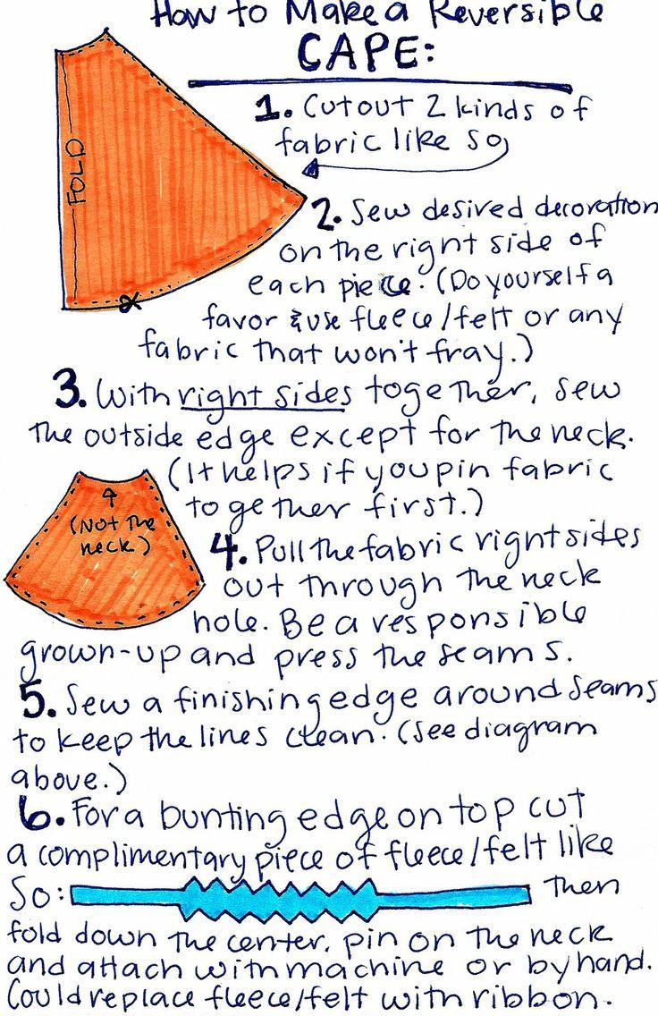 : diy reversible cape tutorial...  love the humorous directions...