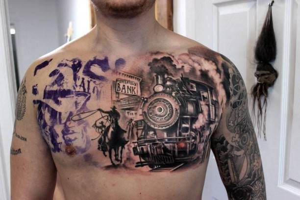 chest tattoo cowboy and steam locomotive tattoo tattooed tattoos chest tattoos. Black Bedroom Furniture Sets. Home Design Ideas
