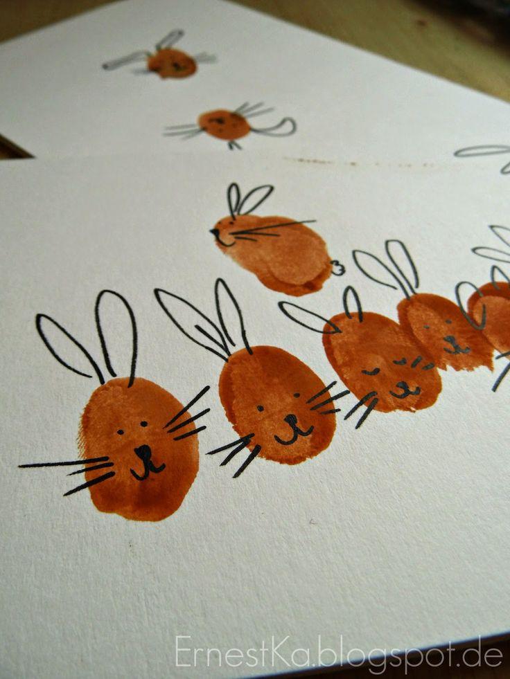 Kinderleichte DIY Osterkarten-- DIY Finger Print Easter Cards http://ernestka.blogspot.de/2015/03/frohlich-kinderleichte-diy-osterkarten.html