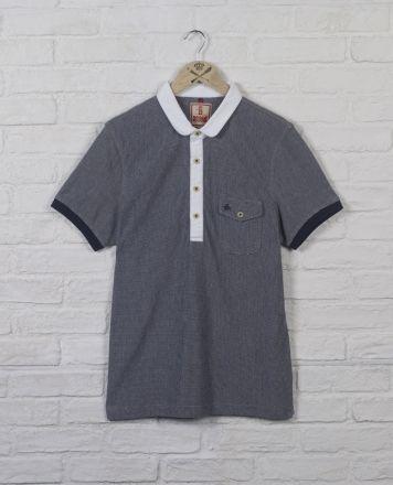 Baracuta Love Short Sleeve Eton Collar Polo Navy