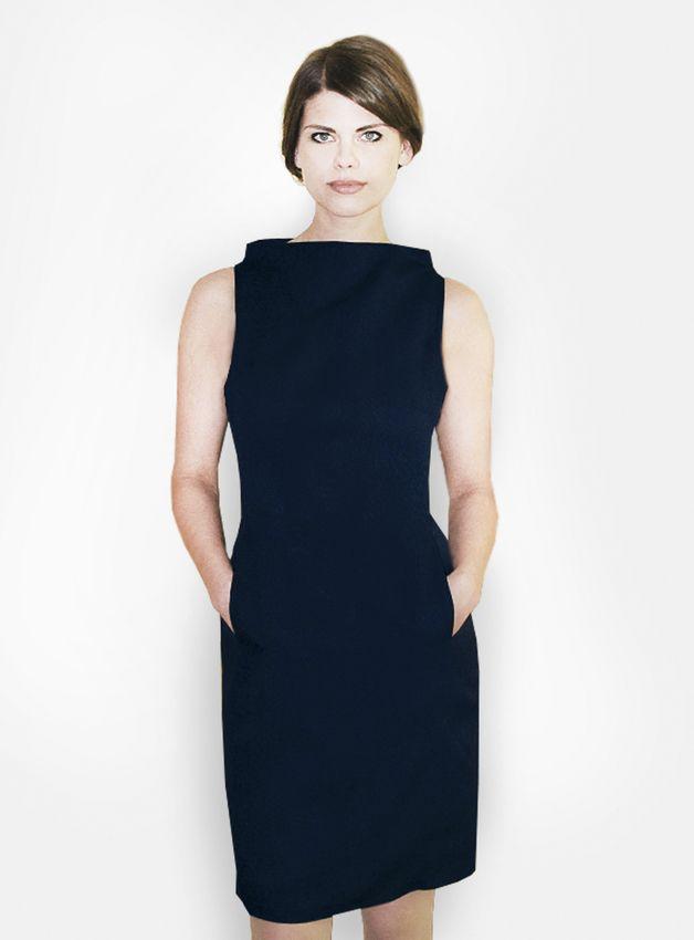 dunkelblaues Etuikleid // dark blue shift dress by femkit via DaWanda.com