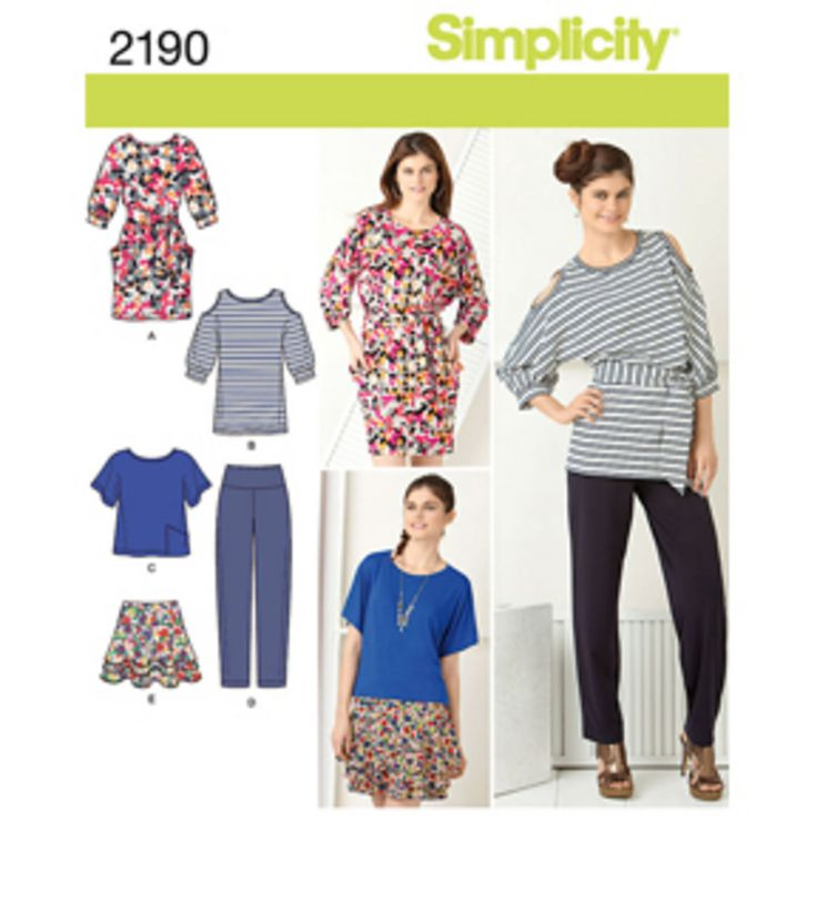 2190 Misses' pants, skirt and knit dress or tunic, top and sash sewing  pattern.