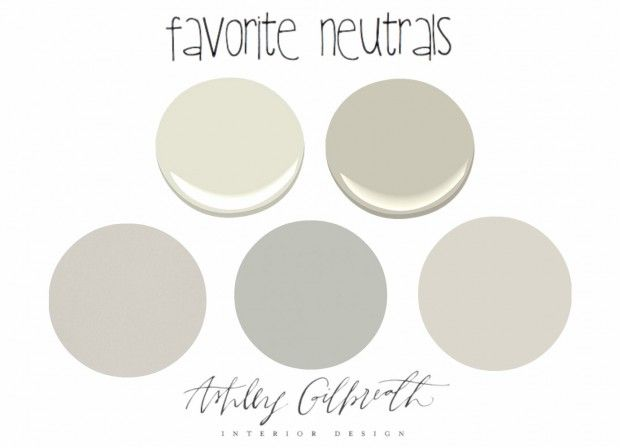 Top to bottom… 1. Benjamin Moore French Canvas 2. Benjamin Moore Revere Pewter (might just be the *perfect* color!) 3. Benjamin Moore Elephants Breath 4. Benjamin Moore Smoke Embers 5. Benjamin Moore Balboa Mist