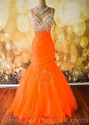 NEON ORANGE Mac Duggal FORMAL EVENING PROM LONG PAGEANT PARTY GOWN DRESS 0