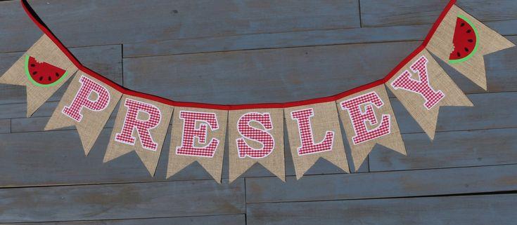 Chica nombre sandía guinga roja por MsRogersNeighborhood en Etsy