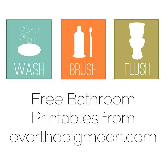 i need these for the childrens bathroom wash brush flush floss free - Free Printable Bathroom Art