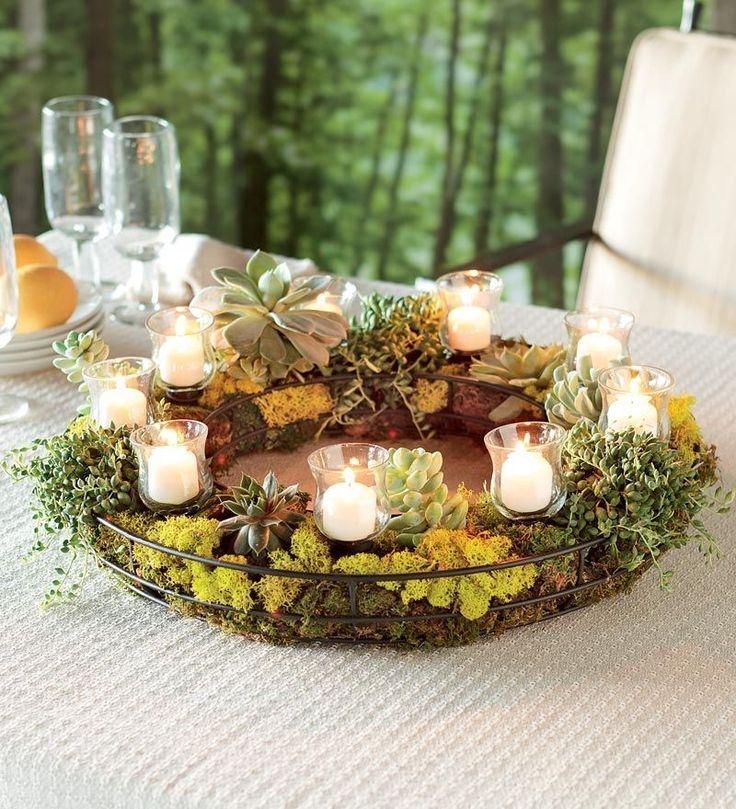 Succulent candle Wreath Centerpiece | CENTERPIECES Candles ...