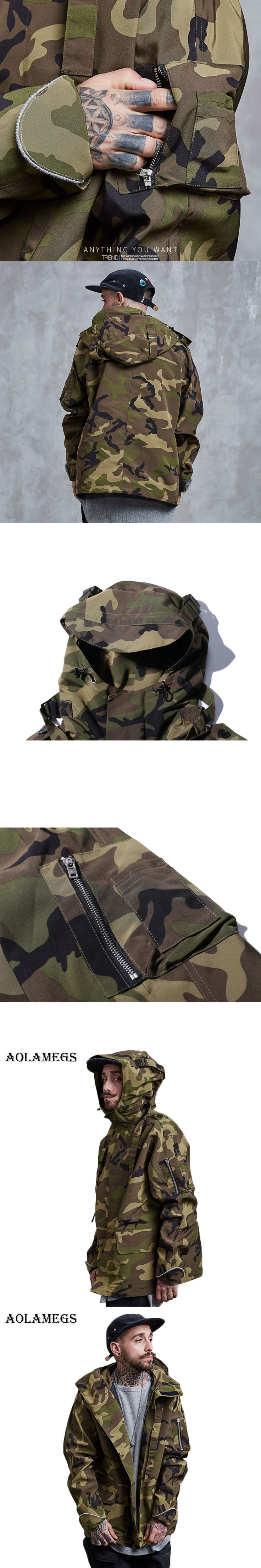 Aolamegs Bomber Jacket Camouflage Men's Jacket Turn-down Collar Rib Sleeve Fashion Outwear Men Coat Bomb Baseball Jackets Autumn
