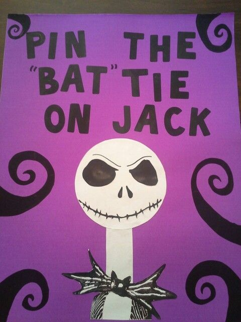 "Pin the""Bat"" tie on Jack party game. Nightmare Before Christmas party."