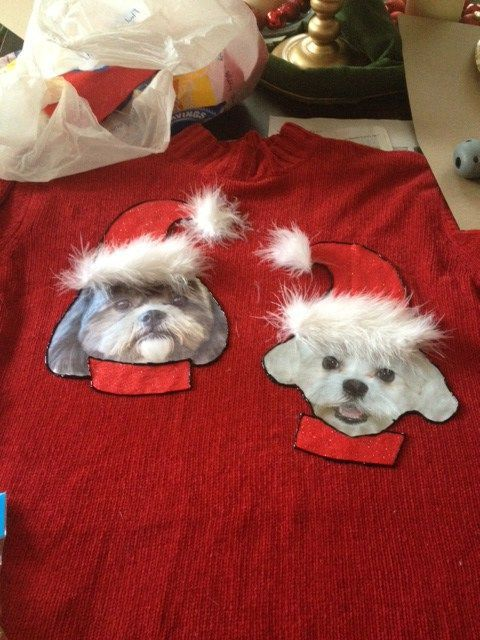 DIY Tacky Dog Christmas Sweater #DogChristmas