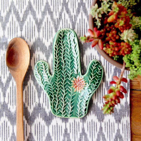 This spoon rest is too cute! Our cactus lover gift guide has everything you need for the cactus lover in your life: