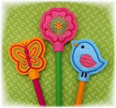 Spring Pencil Toppers FELT STITCHIES (in the hoop)