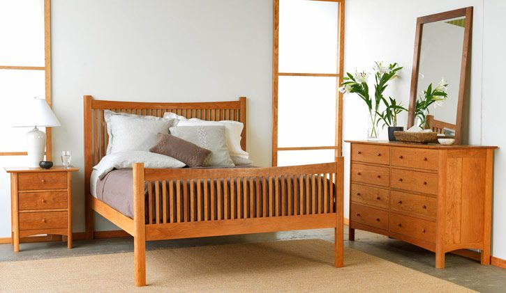 Modern Shaker Bedroom Furniture Set Shown In Natural Cherry Wood Standard Set Includes 1 Queen