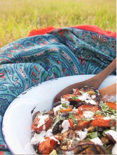 Dinner on the marshes - griddled toms, aubergines with basil & balsamic vinegar, sour cream & leaves