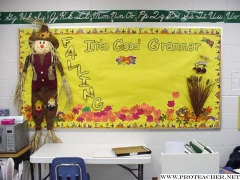 October, Fall, Autumn Leaves: Falling Into Good Grammar Bulletin Board