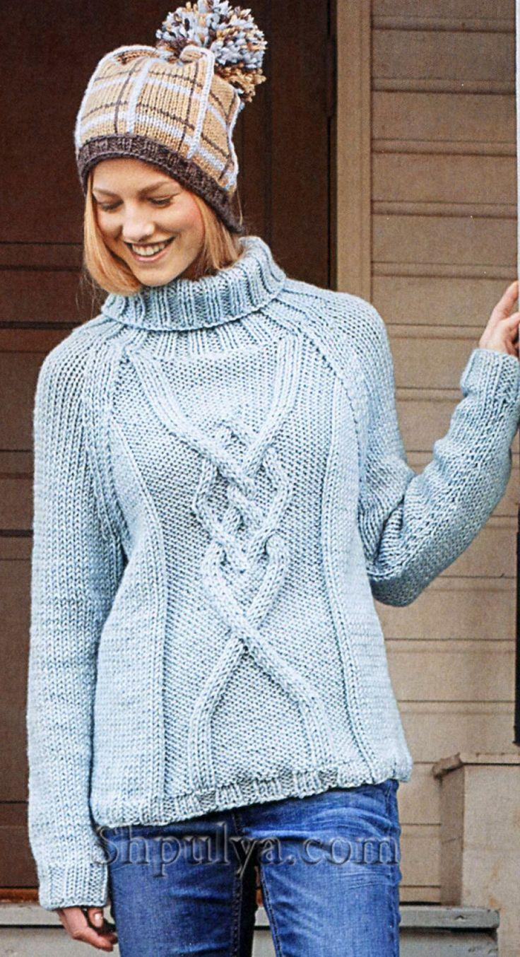 Голубой свитер с рельефный узором, вязаный спицами