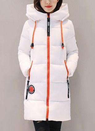 c36b9040ed6 Long Sleeve Hooded Zipper Pockets Down Coats