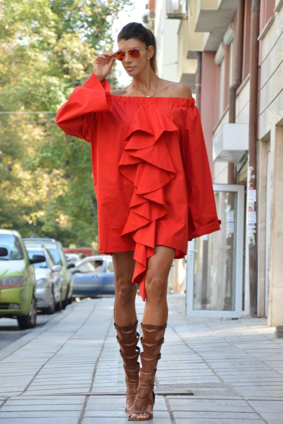 Extravagant Women's Red Shirt Maxi Asymmetric Summer