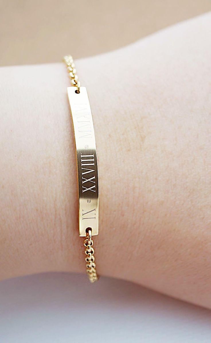 Personalized stainless steel skinny bar bracelet from EarringsNation Roman date bracelet gold weddings bridesmaid gift couple bracelet