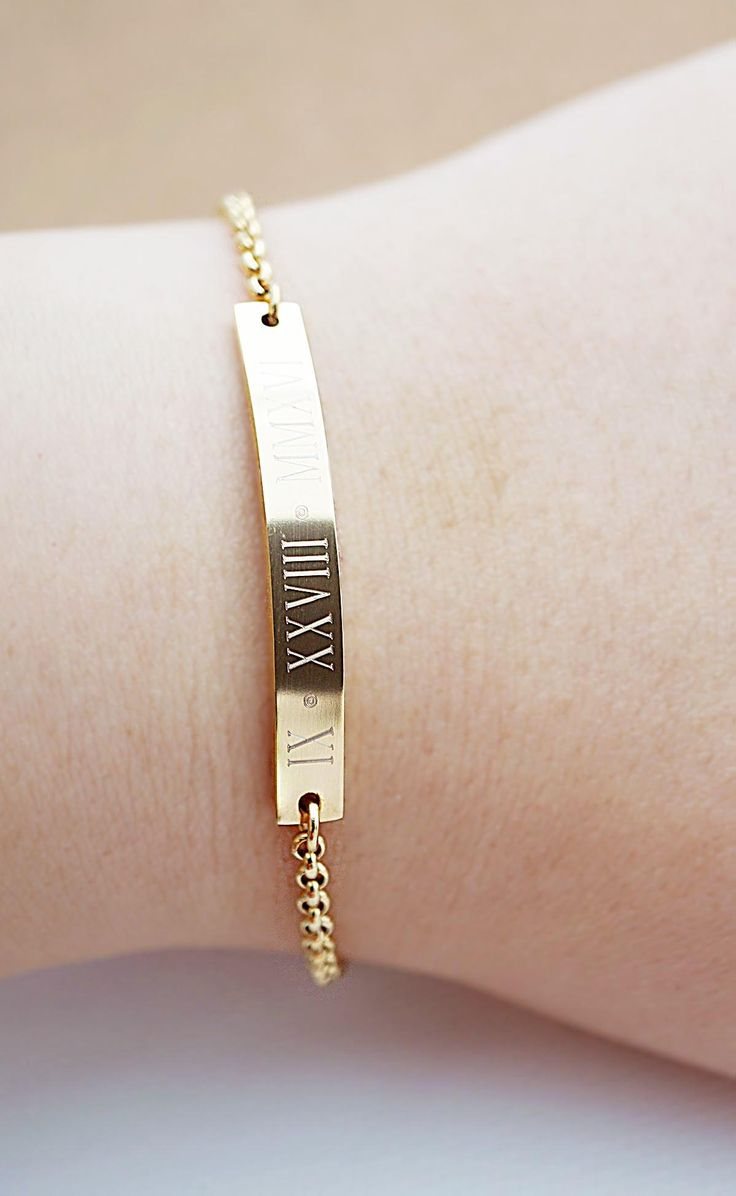 Personalized stainless steel skinny bar bracelet from EarringsNation Roman date bracelet gold weddings bridesmaid gift couple bracelet