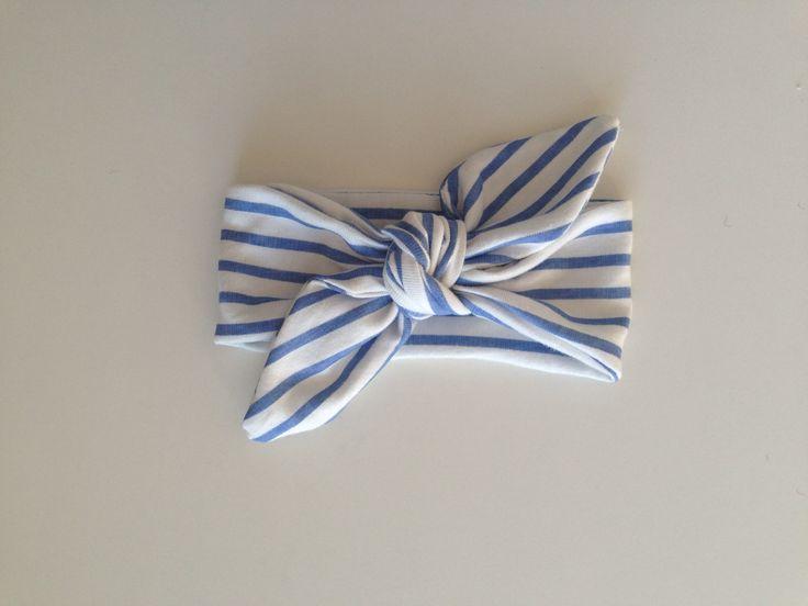 French Riviera- Striped top knot headband