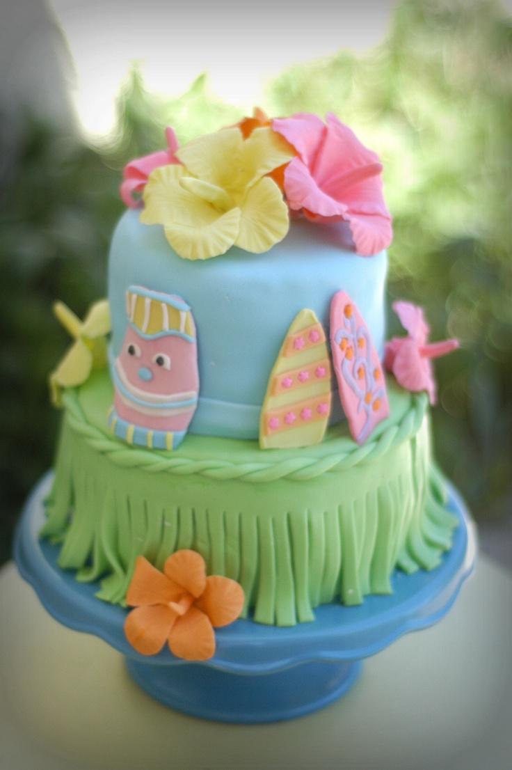 Hawaiian Cake, Luou theme, MMF with gum paste hibisucus ...