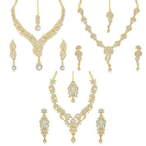 Sukkhi Pleasing 3 Pieces Necklace Sets Combo has wonderful look and is perfect for casual wear It includes 3 Necklace Sets. Embellished with Australian Diamond, it gives a rich appeal. You can wear this set together or individually on western as well as traditional attire. This value-for-money combo is a smart choice. Stone: Australian Diamond