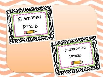 Zebra Sharpened and Unsharpened Pencil Labels