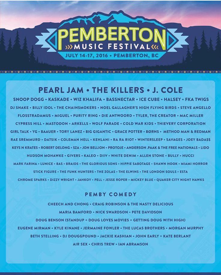 "MusicFests365 on Instagram: ""Pemberton Music and Camping Festival in BC !  #Pemberton #musicfestival #music #lineup #pembertonmusicfestival #bc #canada #festival #edm #bassnectar #kaskade"""