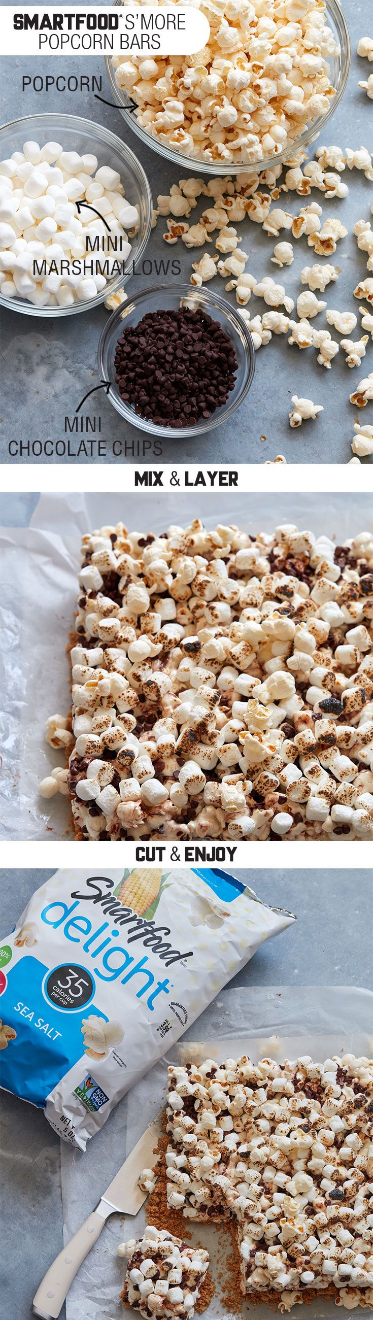 Sponsored by Frito-Lay | Looking for a summer game changer? These Smartfood® S'more Popcorn Bars will do just the trick. Grab some mini marshmallows, graham cracker crumbs, chocolate chips, and Smartfood Delight®  sea salt popcorn, and in no time you'll have the perfect treat to pair with your favorite Frito-Lay® products and share at any summer party.