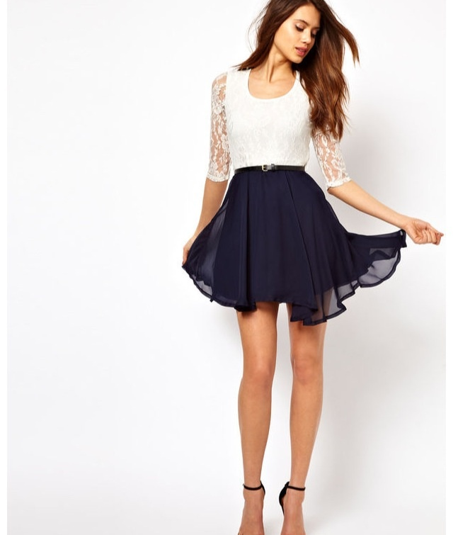 White Lace Shirt Blue Flowy Skirt Outfit Ideas