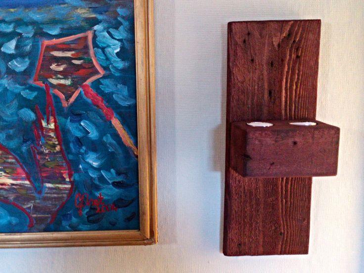 Meşe Ağacı İkili Tealight Duvar Mumluğu