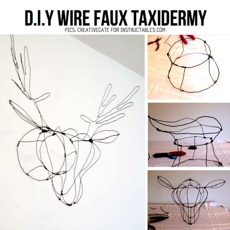 Wire Faux Taxidermy by CreativeCate for Instructables.com, featured in DIY Vegan Taxidermy Special on ScrapHacker.com