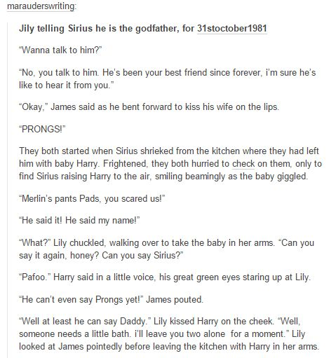 the marauders -  James and Lily telling Sirius he is the godfather part 1