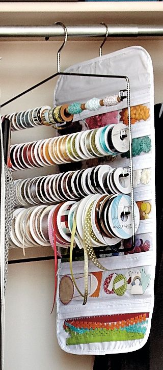 Craft Organizing Inspiration: Using hangers and hanging jewelry organizers to store ribbons, small paper accessories and other items. #Organize #scrapbook #crafts #ribbon #stickers #storage #container #organization #declutter