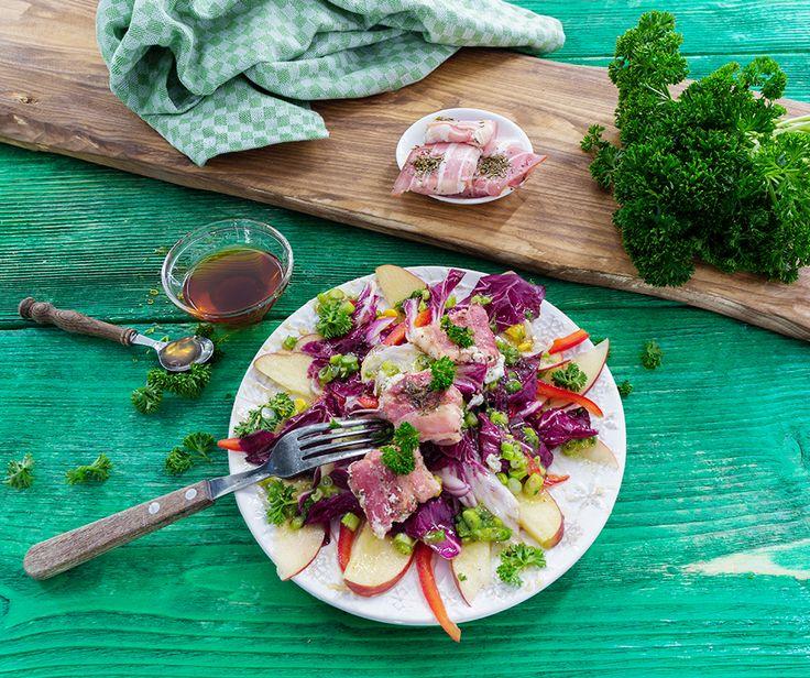 Radicchio-Feldsalat mit Ziegenkäsetalern
